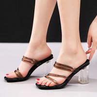 yüksek topuk ayakkabıları siyah yaz toptan satış-YMECHIC Kadın Ayakkabı Temizle Yüksek Topuklu Yaz 2019 Dar Bant Gladyatör Slaytlar Blok Tıknaz Topuk Parti Şeffaf Terlik Siyah