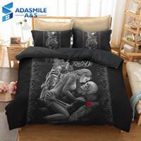 quilts tröster sets großhandel-3D Beauty Schädel Bettwäsche Set Bettwäsche Quilt Trösterdecke Erwachsene Kinder US Twin Königin Bettwäsche Bettbezug Set