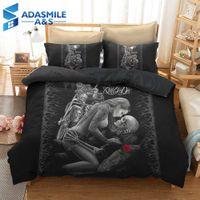 ingrosso lenzuola biancheria da letto 3d-Set biancheria da letto con teschio di bellezza 3D Set trapunte da letto Copripiumino Copripiumino Adulti Bambini US Twin Queen Set copripiumino