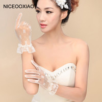 Wholesale accessories white short dress resale online - NICEOOXIAO Fashion Tulle Lace Gloves Finger Short Elegant Bridal Gloves Dress Accessories Multi Color Wrist Length