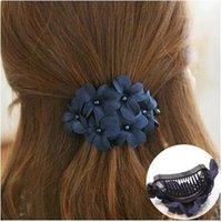tissu en griffe achat en gros de-Coréenne De Mode Queue De Cheval Titulaire Fleur Cheveux Griffe Clip En Gros Lot Accessoires Pour Femmes Filles Tissu De Cheveux Arc En Épingle À Cheveux Chapeaux
