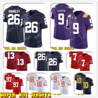football jerseys venda por atacado-5-24 NCAA 26 Saquon Barkley 9 Joe Burrow LSU Tigers College Football Jersey peluche Bridgewater Luke Kuechly Christian McCaffrey