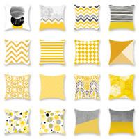 almohada almohada amarilla cubre al por mayor-Amarillo geométrico funda de almohada funda de cojín Glamour cuadrado impresión funda de almohada funda de cojín oficina en casa sofá decoración de coche WX9-1245