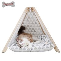 casa de gato de madera al por mayor-Envío gratis !!! Doglemi Nature Canvas Pet Teepee Tent Madera Tipi Dog Cat House