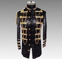 vestido de moda punk rock venda por atacado-Lantejoulas blazer homens ternos projetos jaqueta moda mens stage trajes cantores roupas dance star style dress punk rock masculino