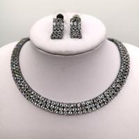 conjunto de joyas negro grueso al por mayor-Gargantilla de oro negro Circonita Gargantilla de plata Conjunto de joyas de diamantes de imitación boda nupcial Chunky collar de joyas conjunto
