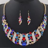 ingrosso orecchini royal blu del rhinestone-Set di gioielli da sposa in cristallo Accessorio per costume da festa Accessorio indiano Collana Orecchini per sposa Set di gioielli splendidi Donne