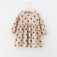 Wholesale girls polka dot ruffle dress resale online - Girl Kids Clothing Dress Round Collar Polka Dots Prnt Dress girl Spring Fall Long Sleeve Clothing Dress