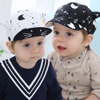 Wholesale baby boy baseball hats caps resale online - Fashion Kid Baseball Cap Cotton Printed Infant Toddler Cartoon Ox Horn Hat Boy Girl Peaked Caps For Months Baby IK88