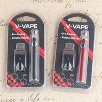 embalagem usb venda por atacado-V-VAPE Pré-aquecimento Vape Pen Blister Kits 650 mah Variável Tensão 510 Thread Pen Kits Com Carregador USB Blister