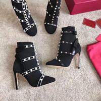 botines de tacón con correa al por mayor-Diseñador de moda Studs calcetín botas de lujo para mujer botines de trabajo con correas de cuero 105mm Zapatos de tacón alto Regalos de Navidad con caja EE. UU. 4-10