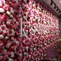 rose mall venda por atacado-fashion wedding flower wall simulation silk rose synthetic flower wall with stand wedding studio flower ball home / mall decoration