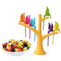 fête à la fourchette achat en gros de-Oiseau Arbre Fruit Fourchette Oiseaux Fruit Fourches Fruits Pics Cuisine Accessoires Toothpick Fourchette Cuisine Accessoires Party Home Decor