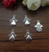 perlen halskette zubehör für frau großhandel-DIY Tibet Silber Angel Charms Anhänger Perlen Schmuckzubehör 13x18mm Fit Männer Frauen Schmuck Halskette Armband Ohrringe Zubehör 100 Stücke