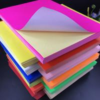 vinilo adhesivo a4 al por mayor-Etiqueta de impresión en vinilo adhesivo de color A4, etiqueta fluorescente Etiqueta de inyección de tinta Etiqueta de papel en múltiples opciones de color