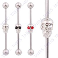 Wholesale Skull Body piercing Industrial barbell Kito jewelry G L Surgical Steel TAIERS