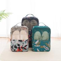 caixas de sacos de armazenamento em casa venda por atacado-Flores Folha De Sapato Caixa De Armazenamento Multi Função À Prova D 'Água Verde Sapatos Bolsa de Viagem Em Casa Portátil Sapatos Práticos Saco 10swD1