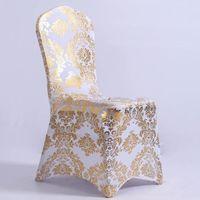розовое золото оптовых-Модные блестящие блестки Универсальные эластичные спандекс чехлы на стулья для свадебной вечеринки Банкетные украшения Аксессуары Элегантные свадебные чехлы на стулья