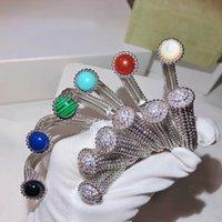 цветные кольца оптовых-Оптовая 2019 новый дизайнер стерлингового серебра 925 цветной КАМЕНЬ браслет-манжета браслет и кольца 18 К позолоченные ювелирные наборы для женщин