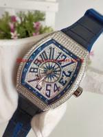 ingrosso orologi da yachting-Gomma di alta qualità uomini di lusso meccanici Orologi sportivi COLLEZIONE V 45 SC T YACHTING Cassa in argento diamante quadrante blu automatico Mens