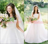855daf6687b Charming Strapless Plus Size Satin Wedding Dresses Outdoor Train Church  Cheap A-Line Sleeveless vestido de noiva Bridal Gown Ball Bride