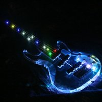 гитара красочная оптовых-2019 Populer 5 Strings Красочный светодиодный свет Электрическая бас-гитара Акриловый корпус Crystal Bass Guitar Flash
