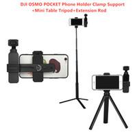 ingrosso morsetti di supporto-DJI OSMO POCKET Handheld Gimbal Stabilizzatore Accessori Phone Holder Supporto morsetto + Mini tavolo Treppiede + Prolunga
