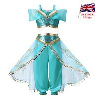 uk giysileri toptan satış-Pettigirl Aladdin'in Lambası Kızlar Yasemin Prenses Kostüm Çocuklar Cadılar Bayramı Peruk Ile 2 Adet Set Payetli Çocuk Giysileri İNGILTERE Depo
