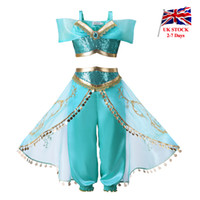 ropa de almacén al por mayor-Pettigirl Aladdin's Lamp Girls Jasmine Princess Costume Kids Halloween 2 piezas con lentejuelas para niños Ropa con peluca Reino Unido Almacén