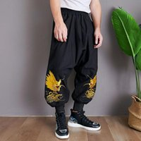 Wholesale chinese dragon heads for sale - Group buy Seawater dragon pants Chinese style casual pants low crotch leg closing dragon head Chinese clothing ancient costume