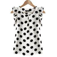 blusa de gasa negra para niñas al por mayor-Chica de moda puntos blusa de las mujeres camisa de gasa ocasional sin mangas con volantes camisa de manga de verano tops negro blanco