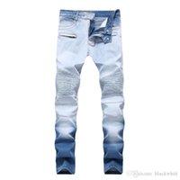 erkekler beyaz kot ücretsiz gönderim toptan satış-Erkekler Sıkıntılı Ripped Skinny Jeans Moda High Street Stretch Jeans Fermuar Çift renkli Beyaz Pantolon Ücretsiz Kargo