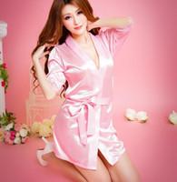 serin iç çamaşırı toptan satış-Serin Buz ipek Pijama Kadın Moda Klasik Bornoz Saf Rol yapma Sexy Lingerie Vahşi Günaha