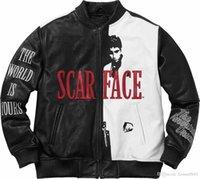 erkeklerin beyaz deri ceket toptan satış-17AW Scarface İşlemeli PU Deri Ceket Siyah Ve Beyaz Deri Moda Erkekler Kadınlar Çift Coat Yüksek Kalite