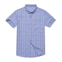 camisas de manga curta xadrez 4xl venda por atacado-Homens Camisa de Manga Curta Xadrez Marca de Verão Ocasional Silm Fit Camisa Masculina Social Masculino Oversize Mistura de Algodão 4XL Chemise Homme
