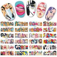ingrosso trasferimenti di decalcomanie per acqua da unghie-12pcs / set Pop Art Design della decalcomania DIY di trasferimento dell'acqua Nail Art Sticker Lips Cool Girl Tatuaggi completa avvolge Nails JIBN385-396