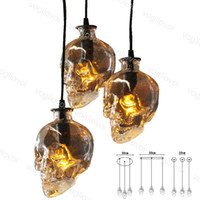 Wholesale transparent remote control for sale - Group buy Skull Pendant Lights V Vintage Fixture Clear Glass Crystal Hanging Lamp for Clab Home Decor Dining Room Industrial Decor DHL