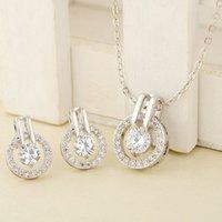 цепочки-лидеры оптовых-New Arrival Women's Zircon Round Pendent Choker Chain Necklace Earrings Wedding Jewelry Set Fashion Leader' Choice
