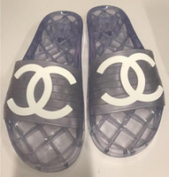 zapatillas transparentes planas al por mayor-Elegantes mujeres de marca Clear PVC Home Slipper Fashion Man Letter Print Slip-on interior Slide Slide Sandalia