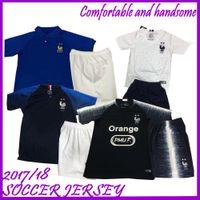 Wholesale free football uniforms for sale - Group buy Maillot de Foot enfant cheap football kids stars two etoiles Equipe de france uniform french Jerseys pant socks