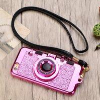 iphone kolye çantası toptan satış-Mytoto Sparkle Kamera Ayna 7Plus 8plus Bling Glitter Telefon Kılıfları coque X iPhone XS Max XR için 10 8 7 6 6s Kolye Kılıf Standı Artı
