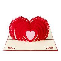 pop up carte coeur 3d achat en gros de-3D Pop Up carte coeur fait main coeur anniversaire anniversaire Saint Valentin anniversaire Noël-
