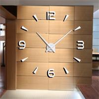 übergroße glocken großhandel-Diy neue große wanduhr modernes design quarzuhr reloj de pared stille 3d spiegel uhr wanduhr aufkleber wohnzimmer klok