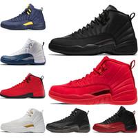 chaussures de basket-ball pour hommes noires achat en gros de-Chaussure de basket-ball pour hommes 12s hiverisée WNTR Gym Rouge Michigan Bordeaux 12 blanc noir
