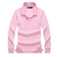 polo men básico al por mayor-2019 Poloshirt Polo sólido Hombres Polo de lujo de manga larga hombres Top básico de algodón Polos para niños Diseñador de la marca Polo Homme MP020
