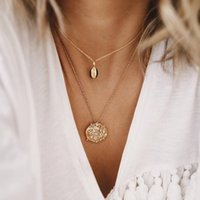 Wholesale shell necklaces for women resale online - Boho Shell Shaped Pendant Necklace For Women Chain Crystal Charm Statement Choker Collares Necklace Wedding Jewelry