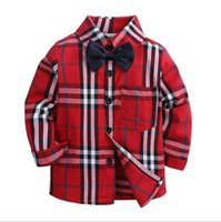 Wholesale teenagers girls clothes resale online - Autumn Boys Shirts For Girl Plaid Long Sleeve Turn down Collar Teenager Tops Cotton Children Clothing Kids Clothes Shirt