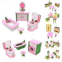 ingrosso set in miniatura-Cute DollHouse Simulazione Miniature Mobili in legno Giocattoli Mobili in legno Set Bambole Baby Room For Kids Play Toy Furniture Puzzle