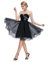 ingrosso sequin bianco che borda abito corto-Grace Karin Sweetheart brevi abiti da ballo nero bianco Prom Dresses che borda sequin increspato abiti da sera sexy blu abiti da festa DH718