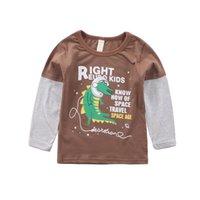 ingrosso abbronzatura dei neonati-Felpa a manica lunga autunno Kid Baby Girl Boy Top Camicie Tee Marrone Maglietta per bambini e ragazze in cotone per bambini # BL2